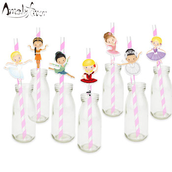 Ballerinas Ballet Straw Paper Straws Birthday Party Festive Supplies Decoration Paper Drinking Straws Famous Ballets